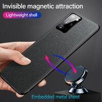 Funda de teléfono magnética de tela ultrafina, cubierta de silicona para Samsung Galaxy S21, S20, S10, S9, Note 20, 10, 9, 8 Plus