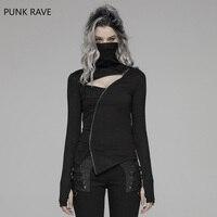 Punk Rave Women Punk T shirt Dark Turtleneck Irregular Zipper Decration Hollot Out Streetwear Hip Hop Personality T Shirt
