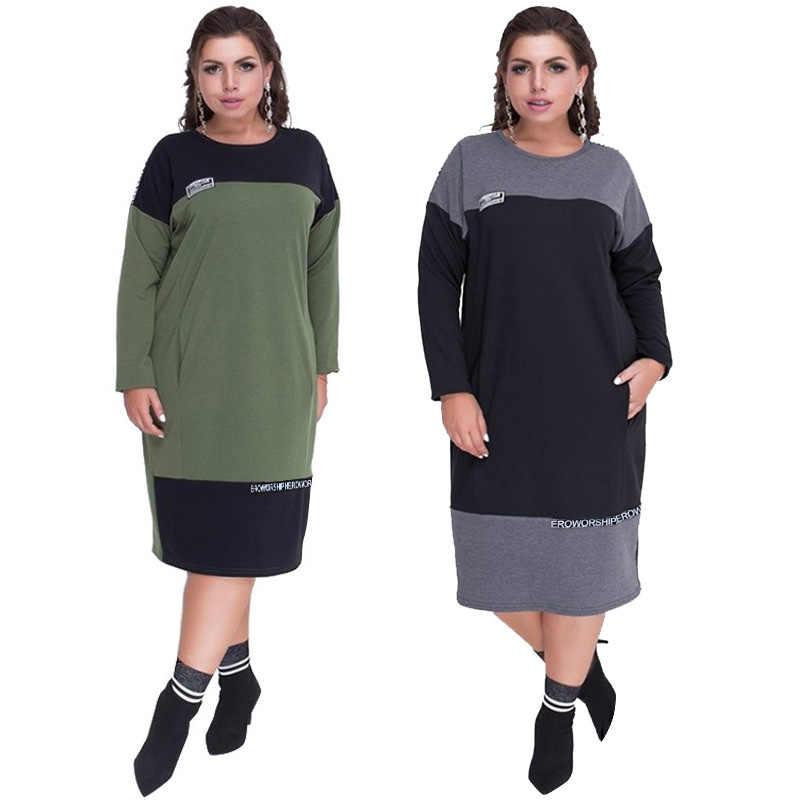 Wipalo Свободное женское платье с круглым вырезом и длинным рукавом, большой размер, плюс сайз 6XL, прямое двухцветное платье
