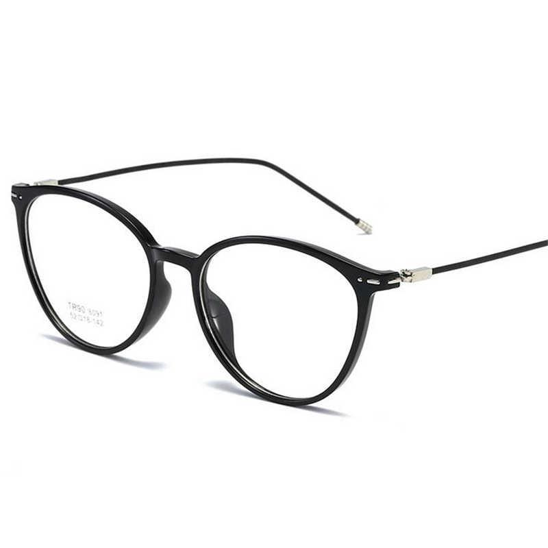 שקוף נשים קצרי רואי משקפיים Ultralight TR90 פלדת חוט רגל סגלגל מרשם משקפיים Diopter 0-0.5-1.0 כדי- 6.0