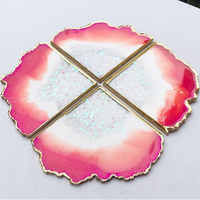 Ins Wave agate cutting coaster mold Irregular design crystal epoxy resin creative wine coaster Insulation mat Concrete mold