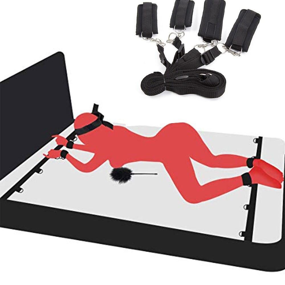 Секс-игрушки БДСМ бондаж под кроватью набор веревочные наручники бандаж SM Набор фиксаторов Пояс верности запястья и голеностопные манжеты ...