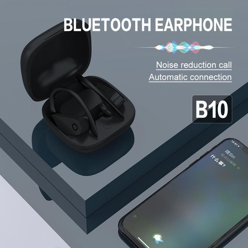 Sports Bluetooth 5.0 Earphone For Powerbeats Pro Bs10 Intelligent Noise Reduction Memory Waterproof Music Headset