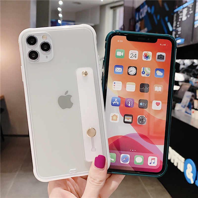 แฟชั่นสี Candy สายคล้องข้อมือสำหรับ iPhone 11 Pro X XR XS MAX 7 8 6 6 S PLUS CLEAR Matte Hard PC ปกหลัง