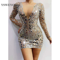 Sexy Lady Flashing Silver Rhinestones Sequins Transparent Dress Bar Birthday Celebrate Outfit Evening Women Singer Short Dress