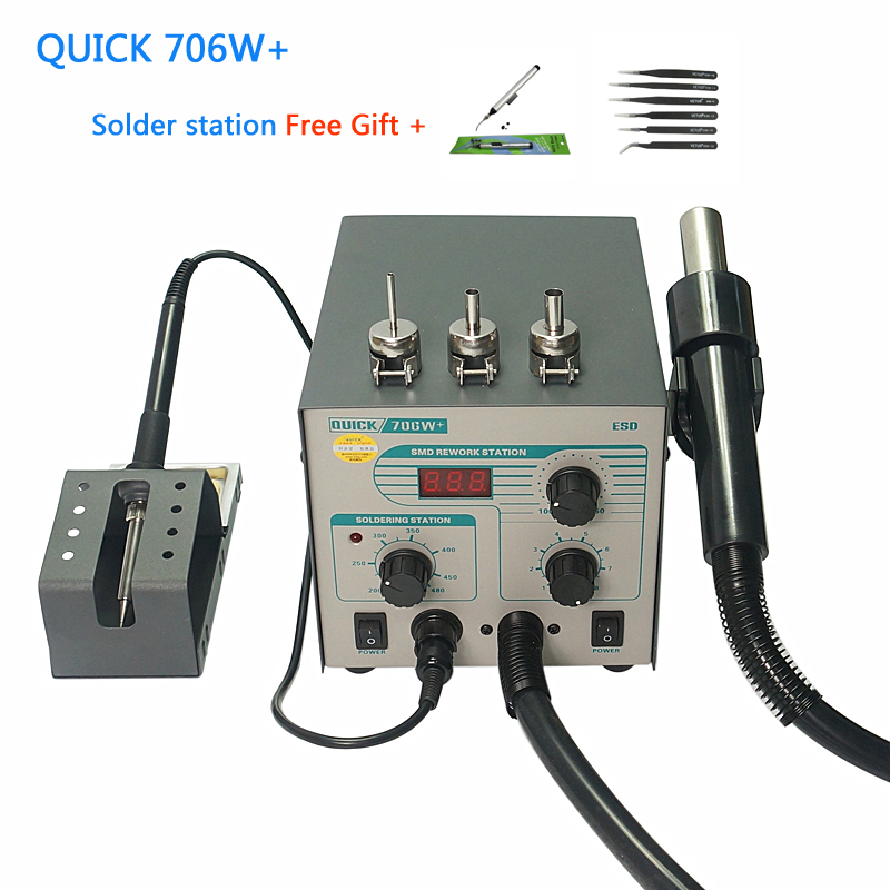 QUICK 706W+ Digital Display Hot Air Gun Soldering Iron Anti-static Temperature Lead-free Rework Station 2 In 1 With 3 Nozzles