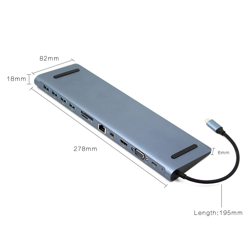 Docking station 12 in 1 USB C HUB Type c to HDMI SD/TF Card Reader RJ45 PD for Charger 3.5mm Audio for MacBook Laptop USB C HUB - 3