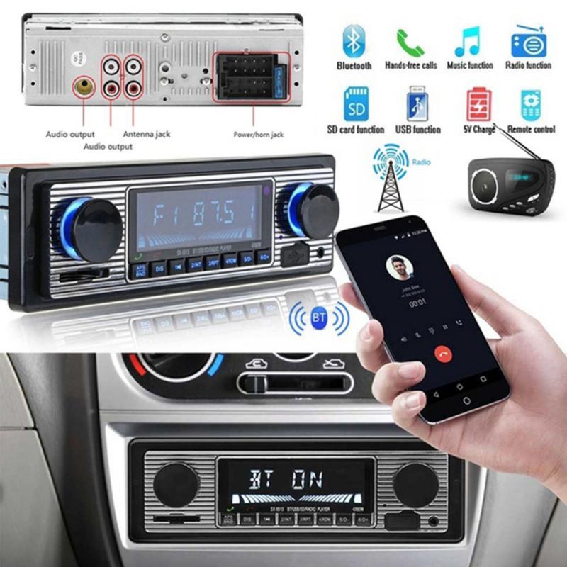 2020 New Car Accessories Interior Bluetooth Vintage Car Radio MP3 Player Stereo USB AUX Classic Car Stereo Audio Car Decoration