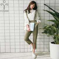 YOSIMI Women Sets Elegant Fashion Full Sleeve White Shirt Blouse and Green Calf length Pants Cropped Trousers 2 Piece Outfits