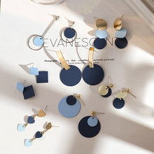 New blue earrings female simple art girl wild temperament earrings earrings ladies jewelry earrings