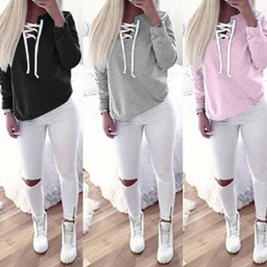 Women Fashion Solid Color Top Full Length Long Sleeve Hoodie Casual Sweatshirt