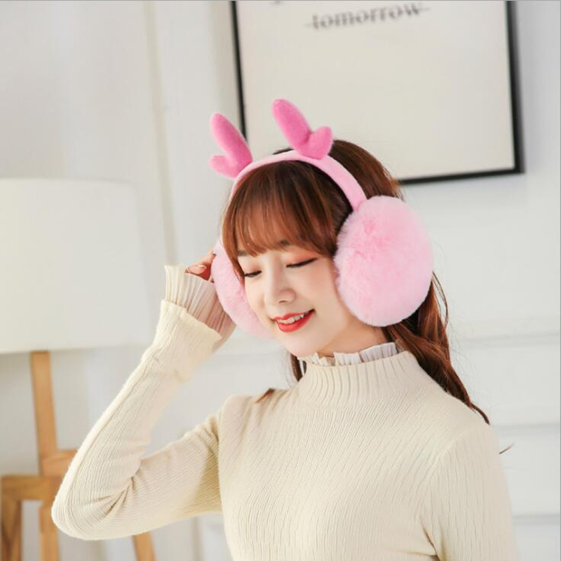 2019 Winter Christmas Women Earmuffs ELK FOLDING Warmer Plush Plain Deer Earmuffs  For Girl  Gifts