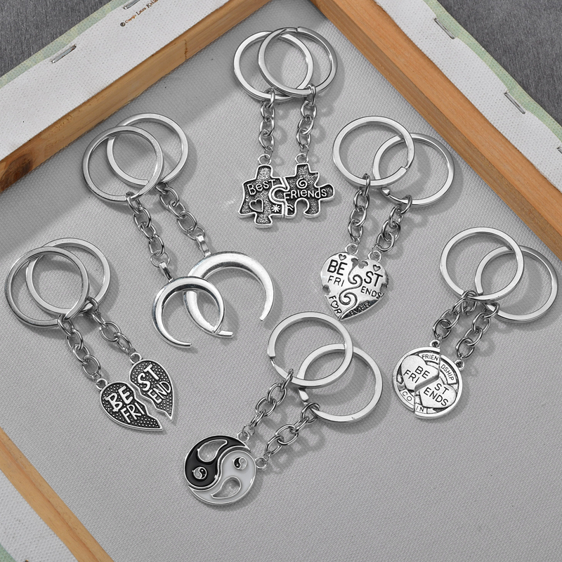 2 Keychain Puzzle Heart Tai Chi Dolphin Lock Pendant Key Chain  Best Friends Jewelry Gift Jewelry Women Men's Jewelry
