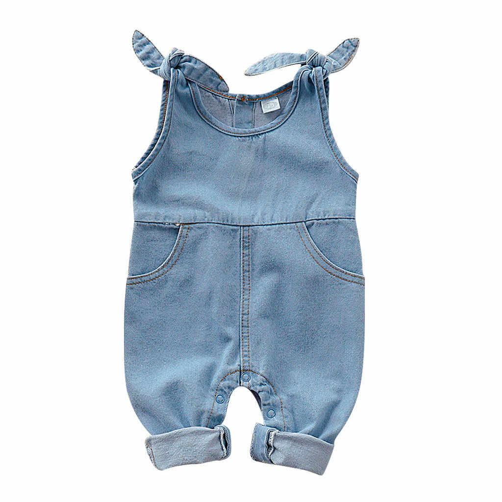 Fashion Newborn Infant Baby Girls Boys Sleeveless Solid Denim Jumpsuit Bib Pants New Born Baby Character Romper; O-neck