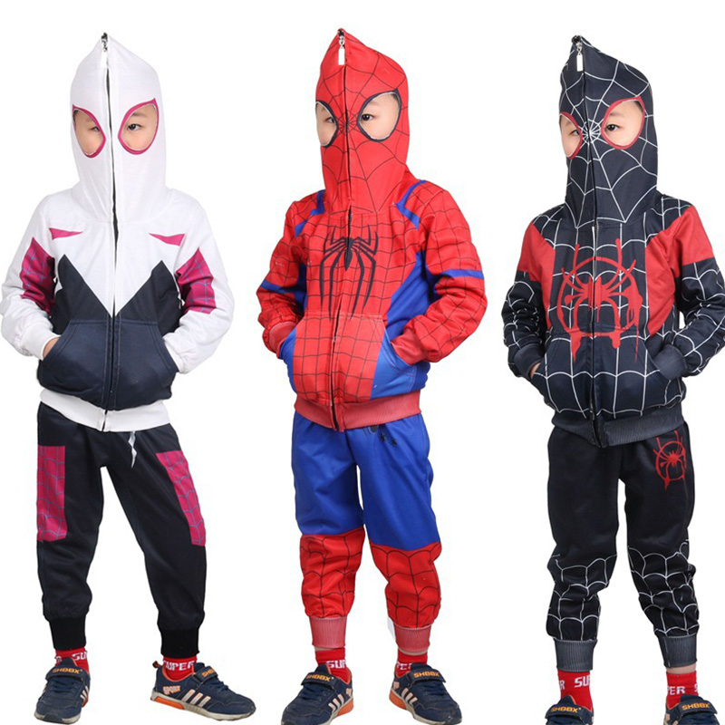 2PCS Baby Kids Boys Spiderman Tracksuit Hoodie Tops Pants Sets Outfit Costume