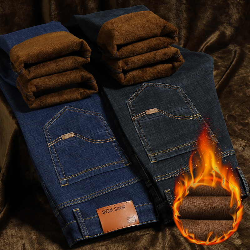 Classic Men's Winter Warm Jeans 2019 New Stretch Straight Fleece Thick Denim Trousers Plus Zise 40 42 44 Brand Business Pants