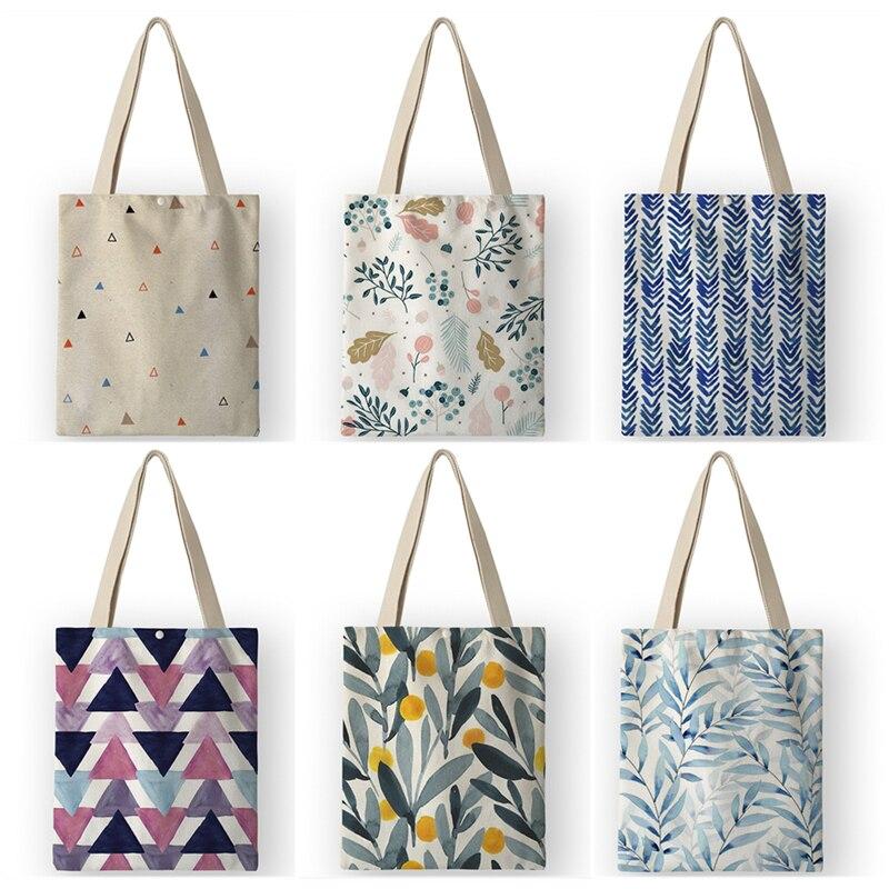 AKB01056 Korean Fashion Women Canvas Handbags Eco Reusable Shopping Bag Fresh Flower Lemon Plant Print Shoulder Bags Tote(China)