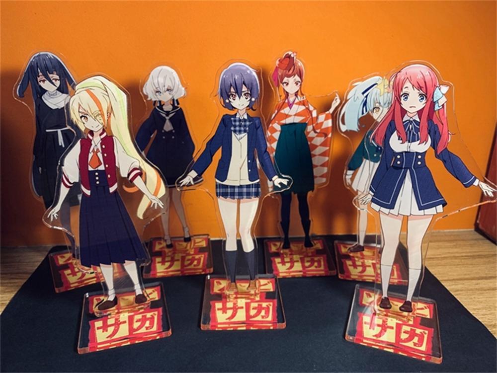 Japan Anime Zombieland Saga Minamoto Sakura Cosplay Cartoon Acrylic Stand Figure + Base Model Plate Zombie Land Saga Decor Gifts(China)
