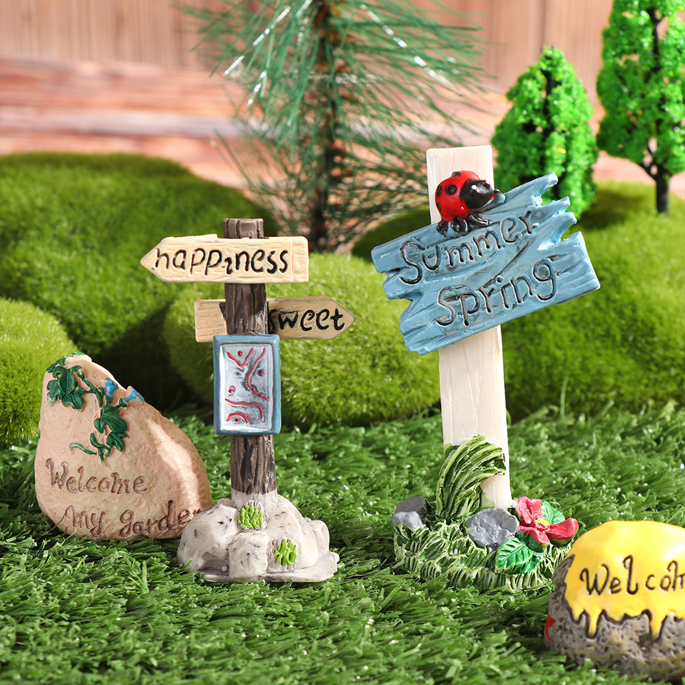 1 Pc Mini Road Sign Simulation Stone Signpost Micro Landscape Doll House Desktop Ornament Resin Craft Gift Fashion Home Decor-0