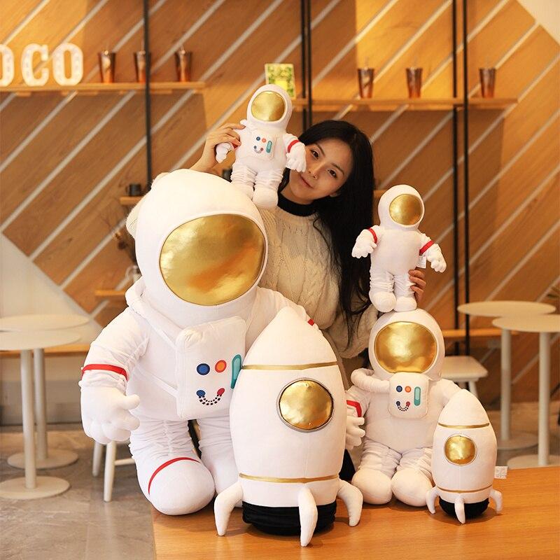 Cartoon Space Series Plush Toys Astronaut Spaceman Rocket Stuffed Plush Doll Boys Kids Birthday Gift