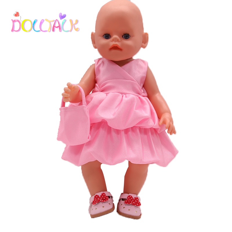 Summer Hot Sale 18 Inch  American Doll Dress Pink Skirt Bag Set For 43 cm New Born Baby Dolls Toys For Girls 1/3 BDJ