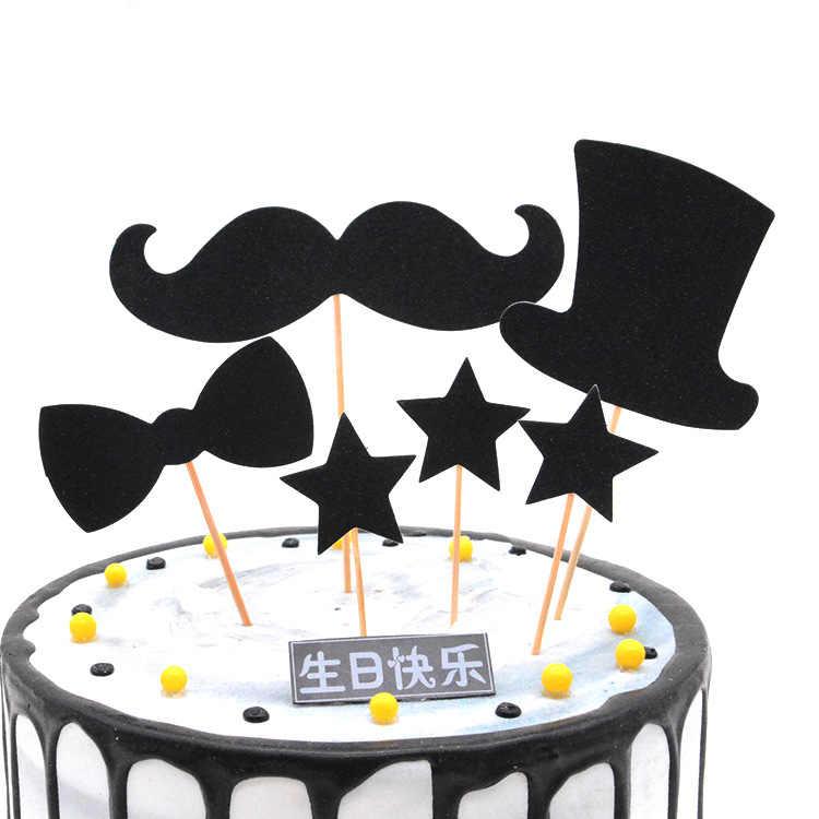Strange Baking Birthday Cake Decoration Card Black Small Man Bearded Funny Birthday Cards Online Alyptdamsfinfo