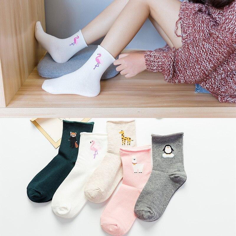 Sheep/penguin Edge Socks Japanese Cute Flamingos Funny Socks Animal Harajuku Divertidos Sox Print Sheep/penguin Edge Socks Women