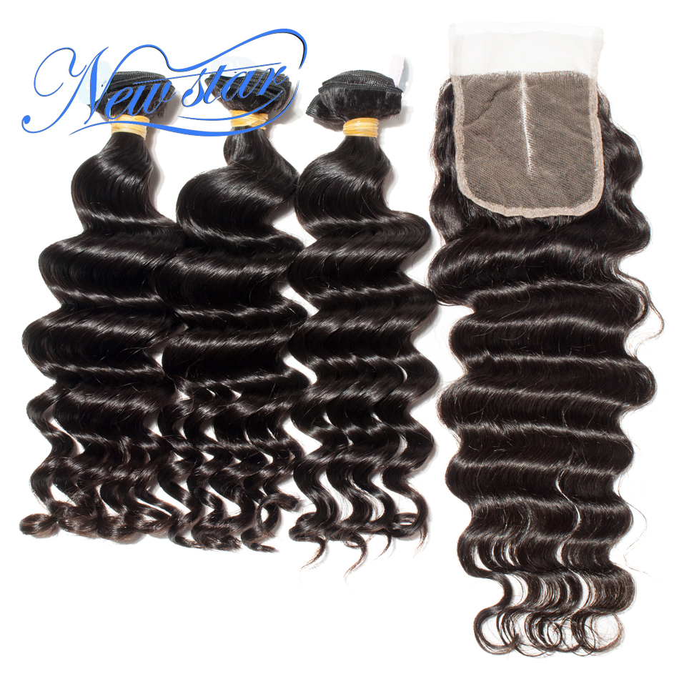 Brazilian Virgin Hair Loose Deep 3 Bundles With 4x4 Lace Closure New Star Hair Unprocessed Thick