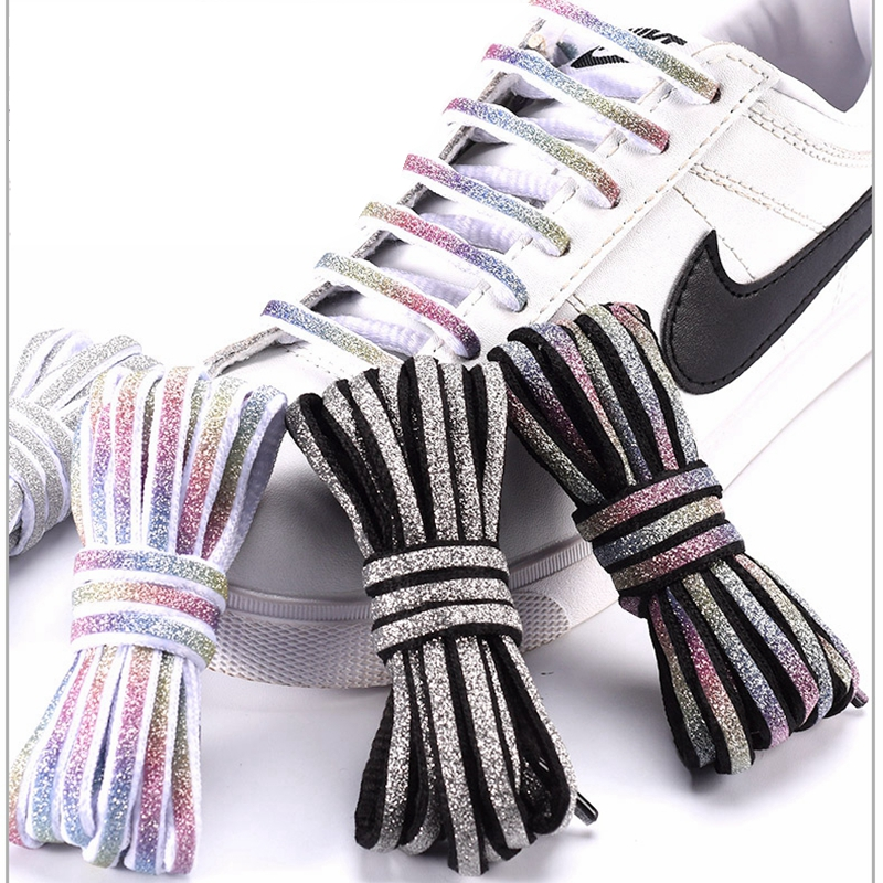 New Reflective Shoelaces Laser Sequin Shoelace Weave Braided Bracelet Sneakers Running Shoes Lace Adult Children Shoe Strings