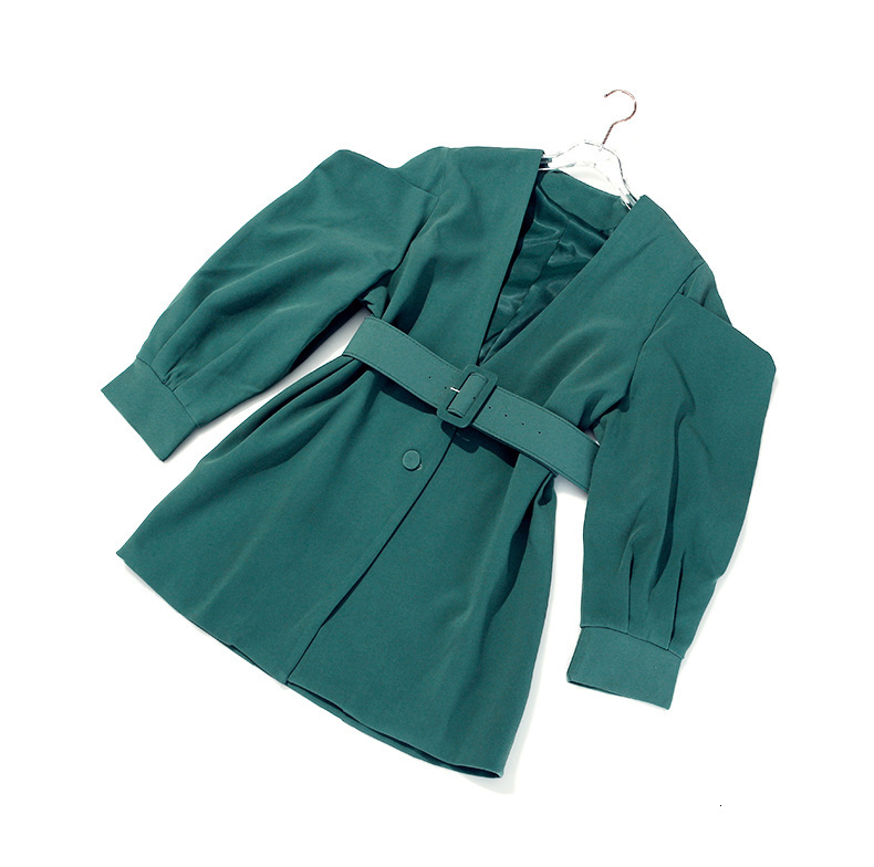 [EAM] 19 New Autumn Winter V-collar Long Batwing Sleeve Fold Split Joint Green Loose BandageJacket Women Coat Fashion JL083 22