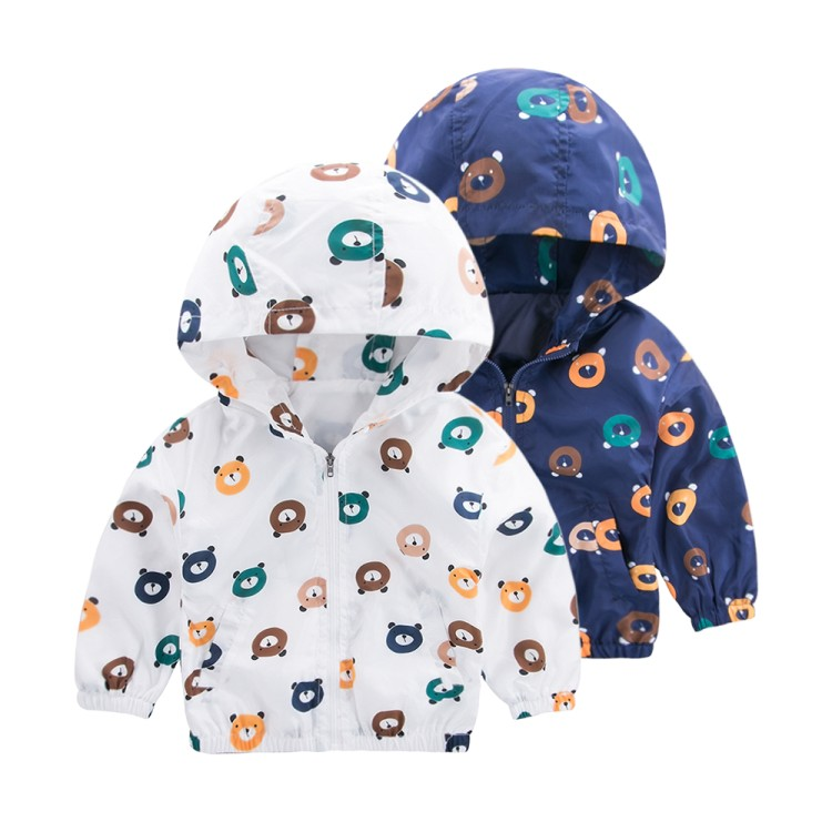 Windbreaker for girls boy Cartoon Bear Hooded trench coat for girls Toddler baby Children's spring jacket Outwear Kids Clothes