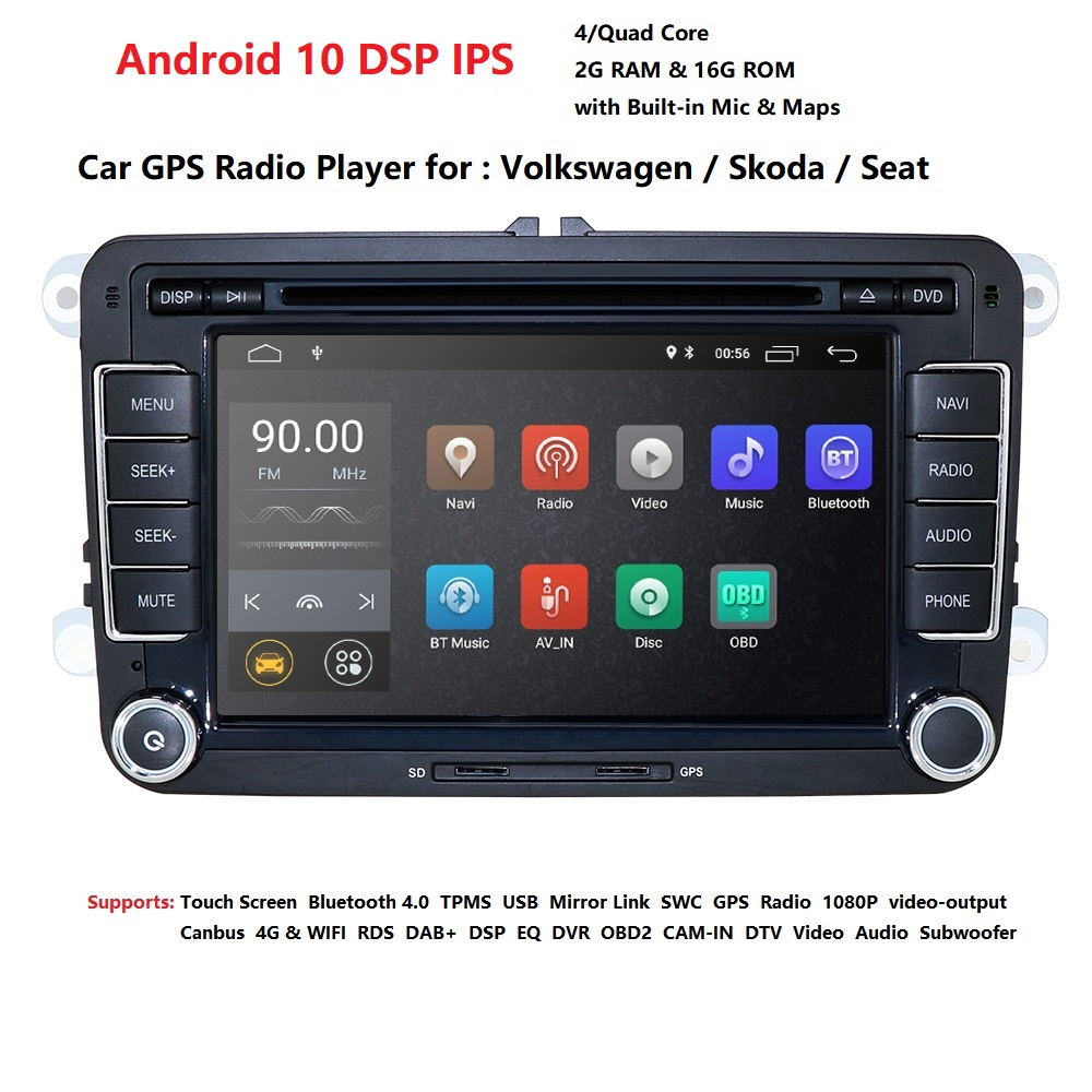 Podofo Car Radio for VW Android 7.1 Car Stereo RDS GPS Navigation Support Rear View Camera//Mirror Link//DVR//FM//AM Double Din Head Unit for Golf//Passat//Jetta//T5//POLO//Touran//SEAT//Sharan