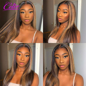 Image 5 - Highlight Wig Straight Lace Front Wig 28 30 Inch Red Wig Highlight Colored Human Hair Wigs Celie Honey Blonde Lace Front Wig