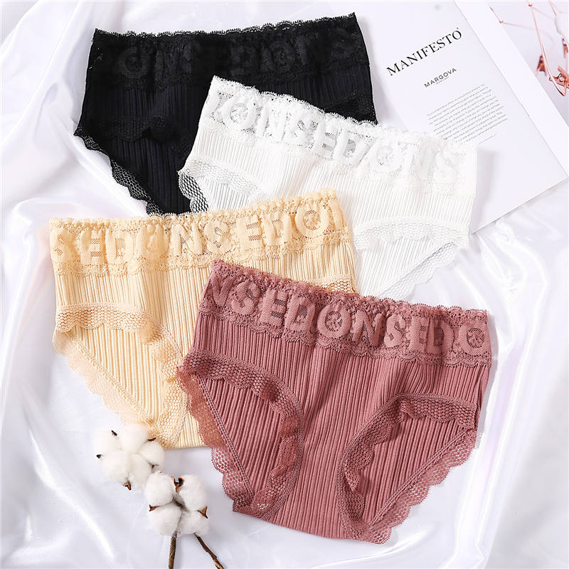 Letters Hollow Sexy   Panties   Women Lace Underwear Underpants for Female Cotton   Panties   Solid Color Floral Lingerie Pantys