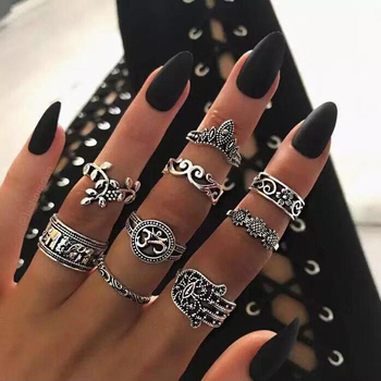 a suit of charming embellished hollow out rings for women docona Boho Elephant Flower Midi Finger Rings Set for Women Punk Hollow Out Sliver Knuckle Rings Jewelry Gift 9pcs/set 4618