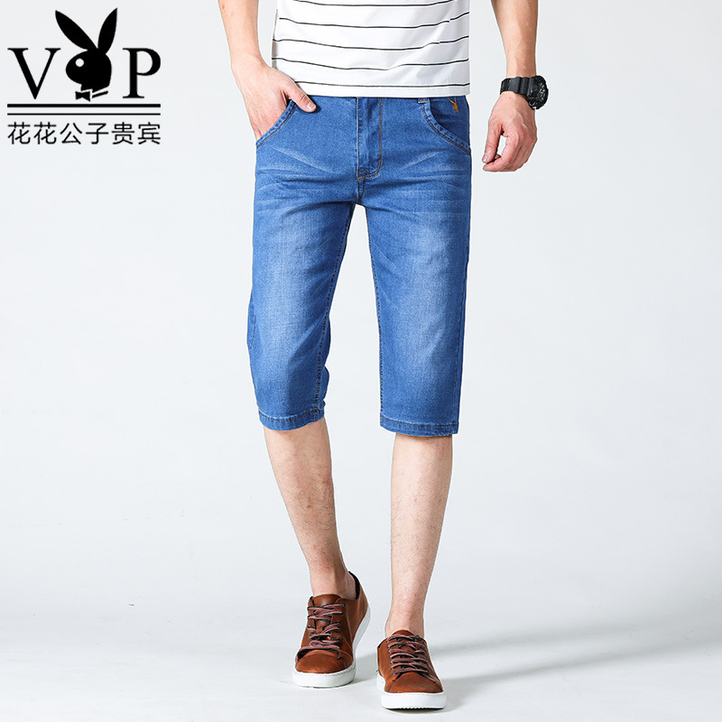 -P40 Spring And Summer New Style Denim Shorts Men's Slim Fit Elasticity Breathable Comfortable Shorts Light Blue White Walls