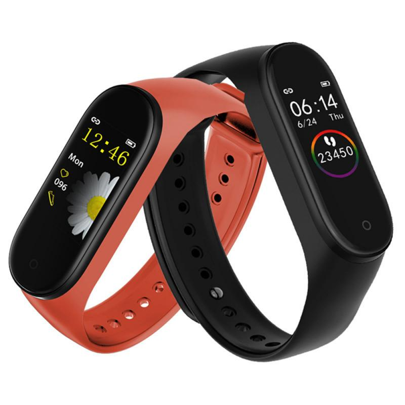 M4 Smart Pedometer Band Color Screen Fitness Running Walking Tracker Sport Bracelet Heart Rate Blood Pressure  Monitor Health