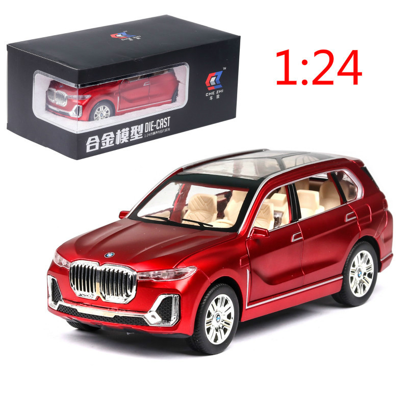 1:24 Alloy Car Model Pull Back Children's Toy Car X7  Simulation Boy Gift 6 Open Door Collection Sound Light SUV Forbmw