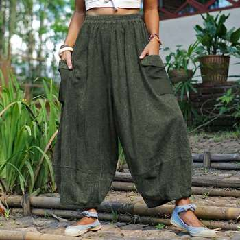 VONDA Vintage Casual Loose Long Trousers Fashion Women Solid Wide Leg Pants Autumn Elastic Waist Pantalon Cotton Palazzo S-5XL 1