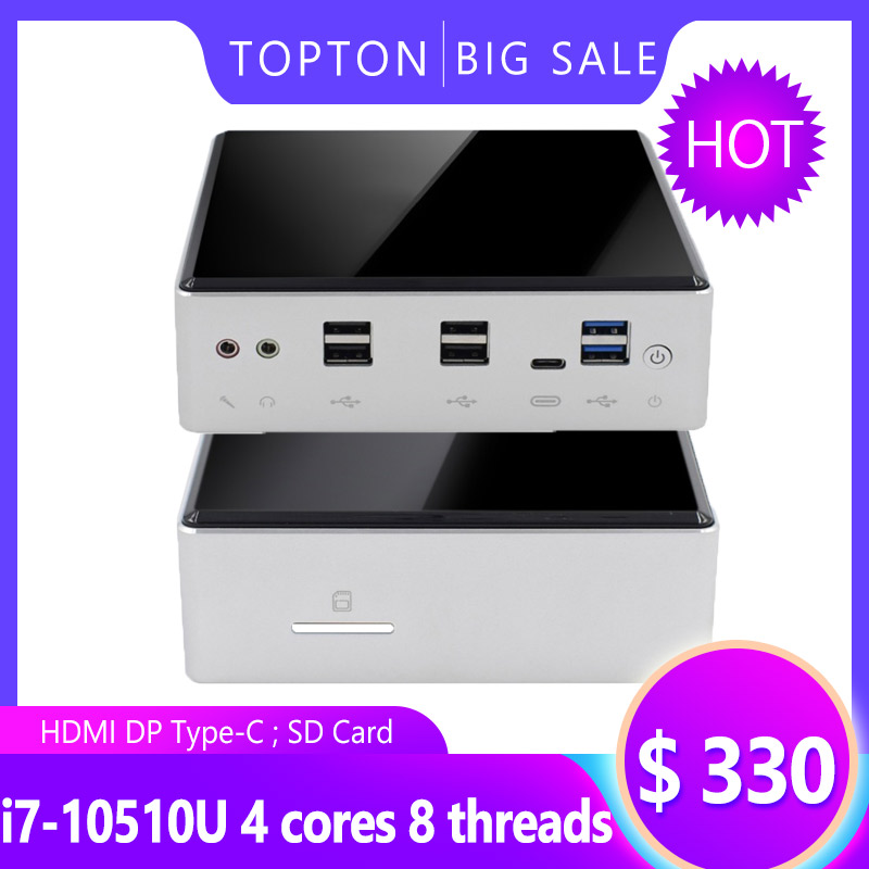 Powerful 10th Gen Game Mini PC Computer Intel I7-10510U 4 Core 2*DDR4 M.2 SSD 2*LAN 4K Windows 10 Linux 8 USB USB-C HDMI DP WiFi