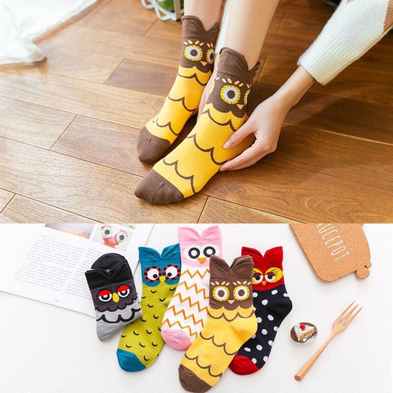 Casual Korea Style Women Socks Cartoon Animal Owl Socks Cotton Funny Girl Socks Cute Socks Fashion Personality Socks
