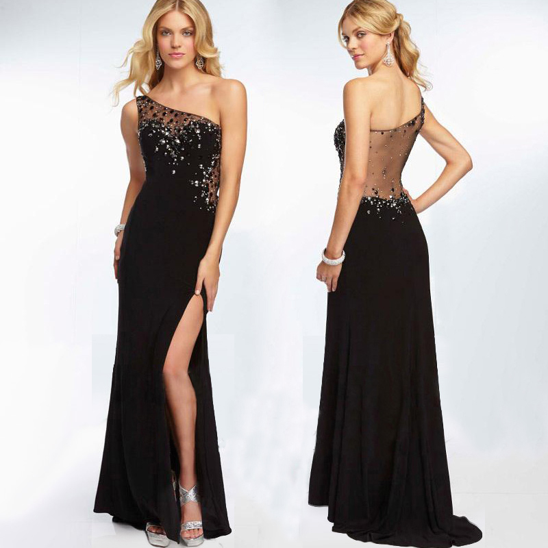 Design Sexy Black Long Prom Gowns One Shoulder Vestido De Festa Longo Robe De Soiree 2018 Beading Crystal Bridesmaid Dresses