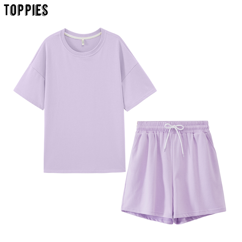 toppies summer tracksuits womens two peices set leisure outfits cotton oversized t-shirts high waist shorts candy color clothing(China)