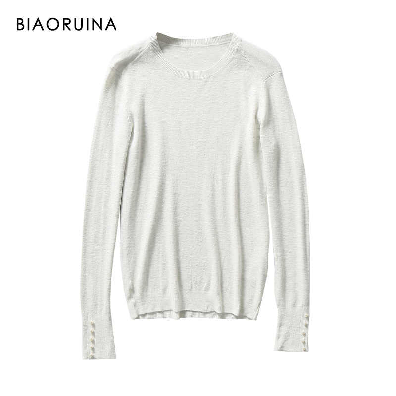 BIAORUINA 7 Color Women's Solid Basic All-match Slim Knit Sweater Female O-neck Casual Pullover Beadings Decoration New Arrival