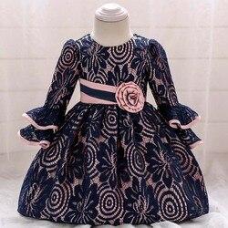 Для маленьких девочек с длинным рукавом, кружевом и цветочным узором, платье на крестины для маленьких принцесс на день рождения вечерние б...