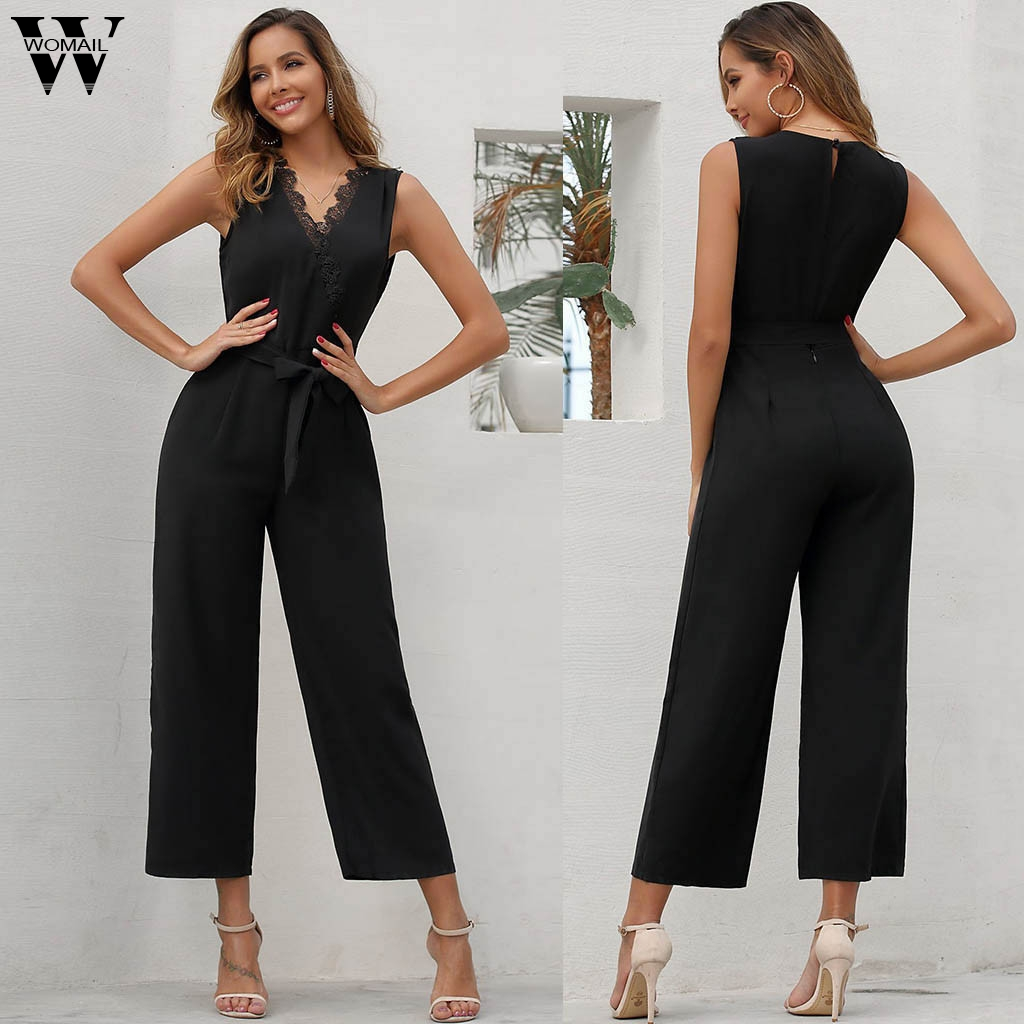 Womail Jumpsuit Women elegant Summer Sleeveless Crochet Lace V Neck Overall Formal Black Wide Leg Long Jumpsuit Trousers holiday