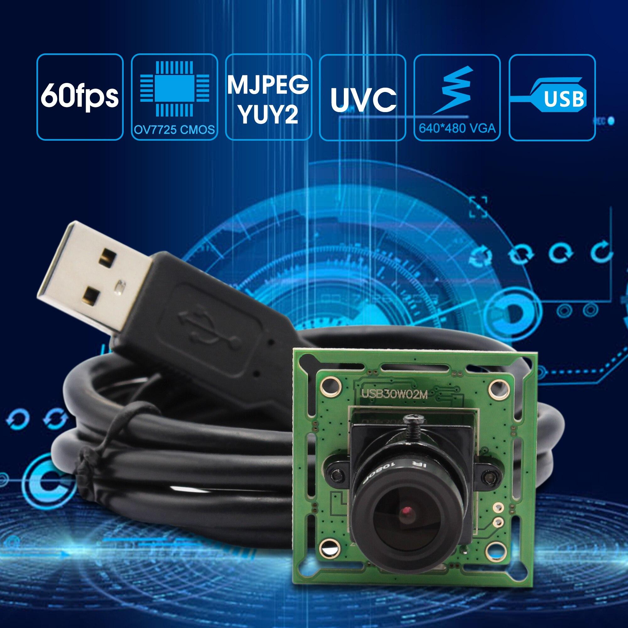 640* 480P Camera Module 1/4 inch CMOS OV7725 USB 2.0 MJPEG 60fps mini board camera usb smallest usb webcam Module