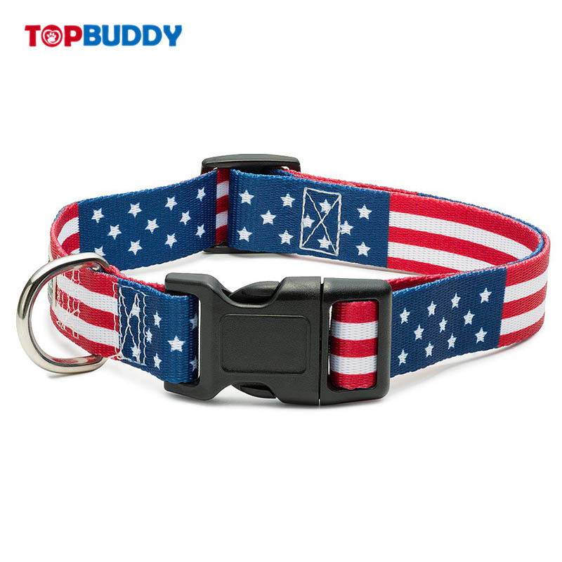 America National Flag Dog Neck Ring 5 Different Size Thermal Transfer Pet Collar Hot Selling Paragraph