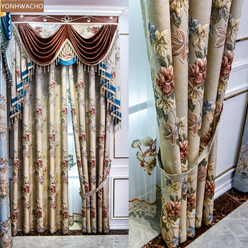 Custom curtain high precision jacquard bright silk 3d relief American yellow cloth blackout curtain valance tulle panel C153