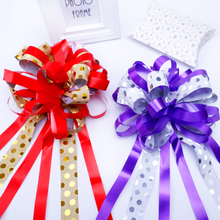Double Layer Circle Point Pull Flower 10Pcs 6cm Bouquet Package Wedding Car Door Handle Decoration Upscale Ribbon Butterfly Knot